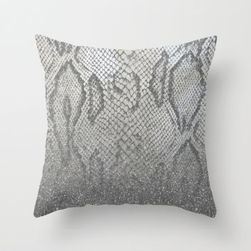 Shimmer (Silver Snake Glitter Abstract) Throw Pillow by soaring anchor designs ⚓ | Society6