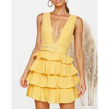 New fashion solid color v-neck vest dress women Yellow