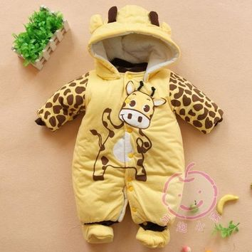 DCCKIX3 Baby Boys And Girls Jumpsuit Animal Giraffe Print Romper Cotton-padded Clothes = 1930072068