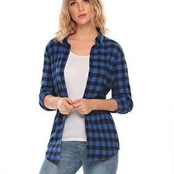Zeagoo Womens Casual Long Sleeve Boyfriend Plaid Button Down Flannel Shirts Tops