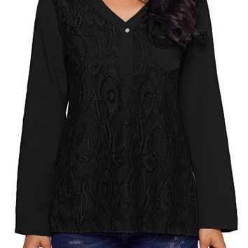 Chic Black Lace Panel Split Neck Roll Tab Sleeve Blouse