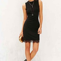 Silence + Noise Ponte Lace-Trim Bodycon Dress- Black