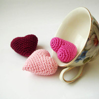 Crocheted pink valentine hearts set of 3 by sabahnur on Etsy
