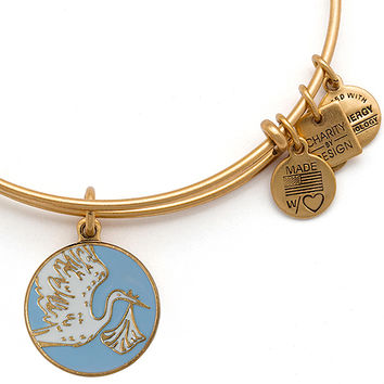 Alex and Ani Special Delivery Stork Baby Blue Rafaelian Gold