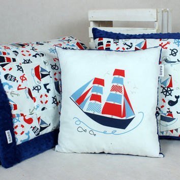 Baby Blanket Quilt Patchwork Overlay Throws  Pillow Marina Sail Boat Ship Anchor Red Navy Blue stroller buggy