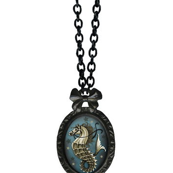 Seahorse Victorian Oval Bow Frame Necklace In Black Enameled|Thirteen Vintage