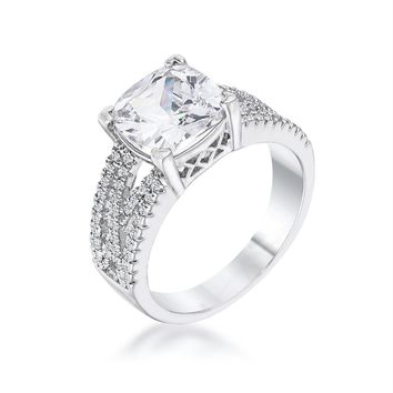 3Ct Elegant Silvertone Criss-Cross Clear CZ Engagement Ring, Size 5