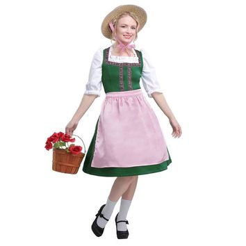 Adult Womens Simple Lovely Traditional Dirndl Make Festive Image With This Happily Oktoberfest Beer Girl Fancy Dress Costume