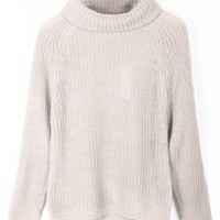 Long Sleeve Cowl Neck Knit Sweater Top