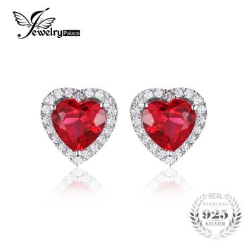 JewelryPalace Heart Of Ocean 3.8ct Created Red Ruby Love Forever Halo Stud Earrings 925 Sterling Silver Fine Jewelry For Women