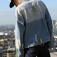 Offwhite Fashion Casual Loose Denim Cardigan Jacket Coat