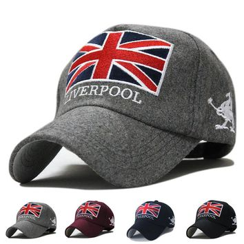 New Arrivals Liverpool Warm Felt Bone Snapback Hat Unisex Gorras Baseball Cap Snap Backs With England Flag For Autumn Winter