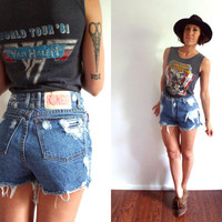 Distressed Bongo High Waisted Denim Cut Off Jean Shorts 28