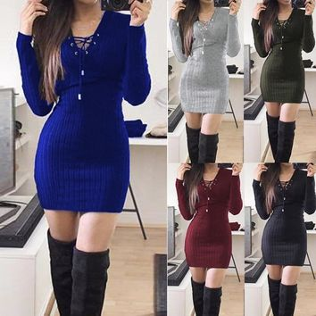 Fashion Autumn Winter Women Sexy Dress Crossed Bandage Solid Color Long Sleeve Knitted Stripe Ladies Girl Casual Dresses FS99