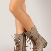 Breckelle Georgia-34 Lace Up Mid Calf Boot