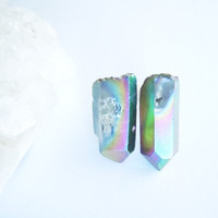 Raw Crystal Point Earrings - Stud Earrings - Boho Chic - Rainbow Titanium Crystal