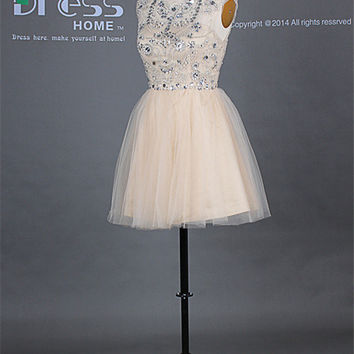 New Arrival 2014 Champagne Scoop Cap Sleeve Beading Rhinestone Open Back Homecoming Dress/Sexy Party Dress/Short Tulle Prom Dress DH246
