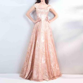 A-line Sequined Evening Dresses Bling Off Collar Lace Up Tulle Floor Length Party Gown Evening Gowns Prom Dress