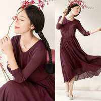 Burgundy  Long Sleeve Drawstring Waist Pleated Dress