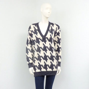 Vintage 80s Sparkly Merino Wool Oversized Sweater Houndstooth Sweater Long Sweater Tunic Sweater Hipster Sweater