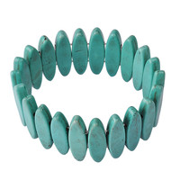 Fashion Turquoise Beads Stretchy Howlite Statement Bracelet
