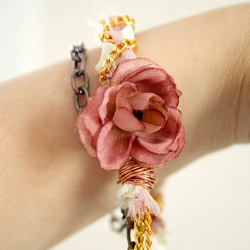 Rose Floral Multi Chain Wrap Around Wire by GirlMeetsClothes on Etsy