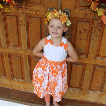 FALL SALE Sunflower Fall  headpiece, sunflowers,flowers in Fall colors on brown ribbon ties in the back,fits small child up to adult size
