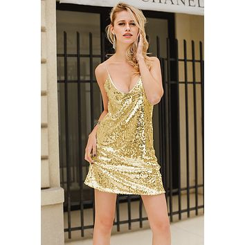 Summer Hot Sale Women Sexy Sequins V Collar Slip Dress Golden