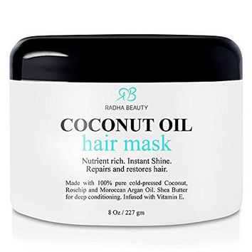 Coconut Oil Hair Mask - Deep Conditioner with 100% Cold pressed Coconut, Argan, Rosehip oil & Shea Butter - Repair and Moisturize Dry, damaged or Color Treated hair - for all hair types 8 Oz