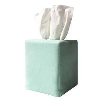 james tissue box cover in aqua