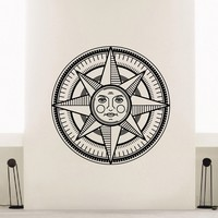 Wall Decal Vinyl Sticker Wind Rose Compass Travel Geography Decor Sb415
