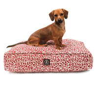 Heather Rectangle Bed | Red Leopard