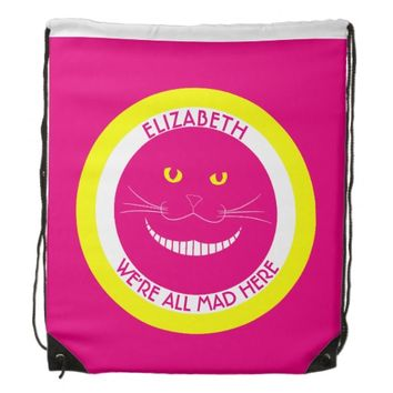 Transparent Cheshire Pink Smiling Cat Cinch Bag