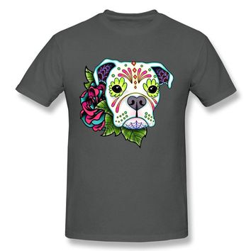 Fashion Cotton Shirts Round Collar Men T Shirts Fashion Boxer in White- Day of the Dead Sugar Skull Dog Man Cotton Tees Shirt