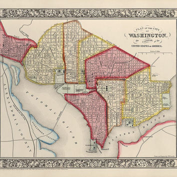 Antique Map of Washington, DC (1863) - Archival Reproduction