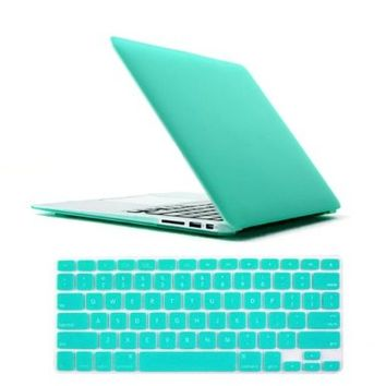 "IC ICLOVER Laptop Rubberized Hard Turquoise See Through Frosted Matte Coated Snap On Case for Apple 11.6"" Macbook Air 11 inch+TPU Protective Keyboard Skin Cover+Clear LCD Screen Protector Blue"