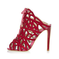 Red caged tie-up heels