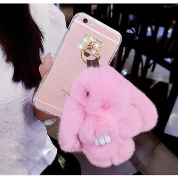 3D Bunny Case Rabbit Fur Case Soft Smooth Cover Bling Phone Cases For Samsung Galaxy S3 4 5 mini S6 7 8 edge Plus Note 3 4 5 8
