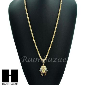 Iced Out Egyptian King Tut Pharaoh 14k Gold Plated 24' Rope Necklace Chain Kn024