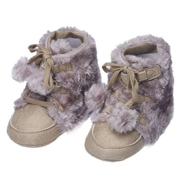 2015 kids boots girls Winter Soft Sole Crib Warm Bowknot Flats Cotton Boot Toddler botte garcon Baby Slippers