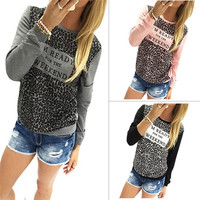 3 Colors Woman T Shirts Tops New 2016 Women Letter Print Long Sleeve T-shirt Casual Sweatshirt Cute Tess & Tops Plus Size GV198