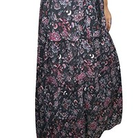 Mogul Women Gothic Skirts Black Floral Printed A-Line Tiered Gypsy Long Maxi Skirts