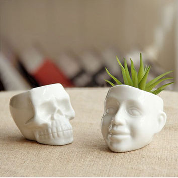 New Zakka white Mini skull and smile ceramic succulent plants pots DIY Mini potted succulents Desktop plant pots decoration