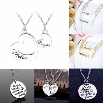 Hot Family Love Heart Mother Daughter Pendant Necklace Mom Mommy Women Girl Mother's Day Party Collar Gift Charm Jewelry Collier