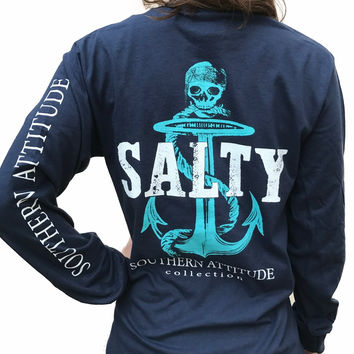 Southern Attitude Preppy Salty Anchor Skull Navy Long Sleeve T-Shirt