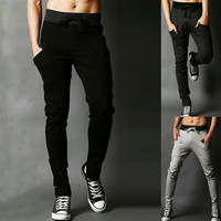 Solid Drawstring Zip-Pocket Pants