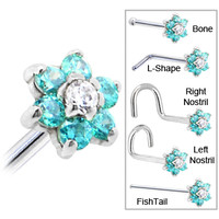 Solid 14KT White Gold Mint Green and Clear Cubic Zirconia Flower Nose Ring | Body Candy Body Jewelry