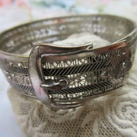 Vintage Deco Filigree Buckle Bracelet