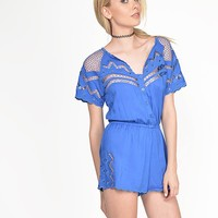 Netted Short Sleeve Romper - Royal Blue