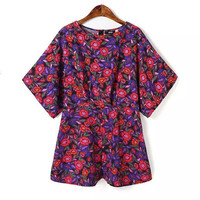 Stylish Dark Purple Round-neck Floral Pattern Short Sleeve Romper [5013251972]